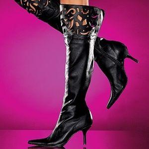Colin Stuart Blk Leather LaserCut KneeHi Boots EUC